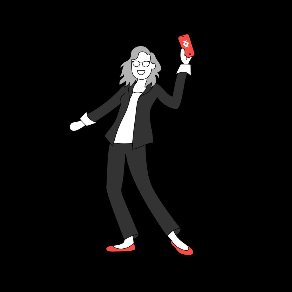 Illustration d'une personne tenant un smartphone avec le logo de satispay 8