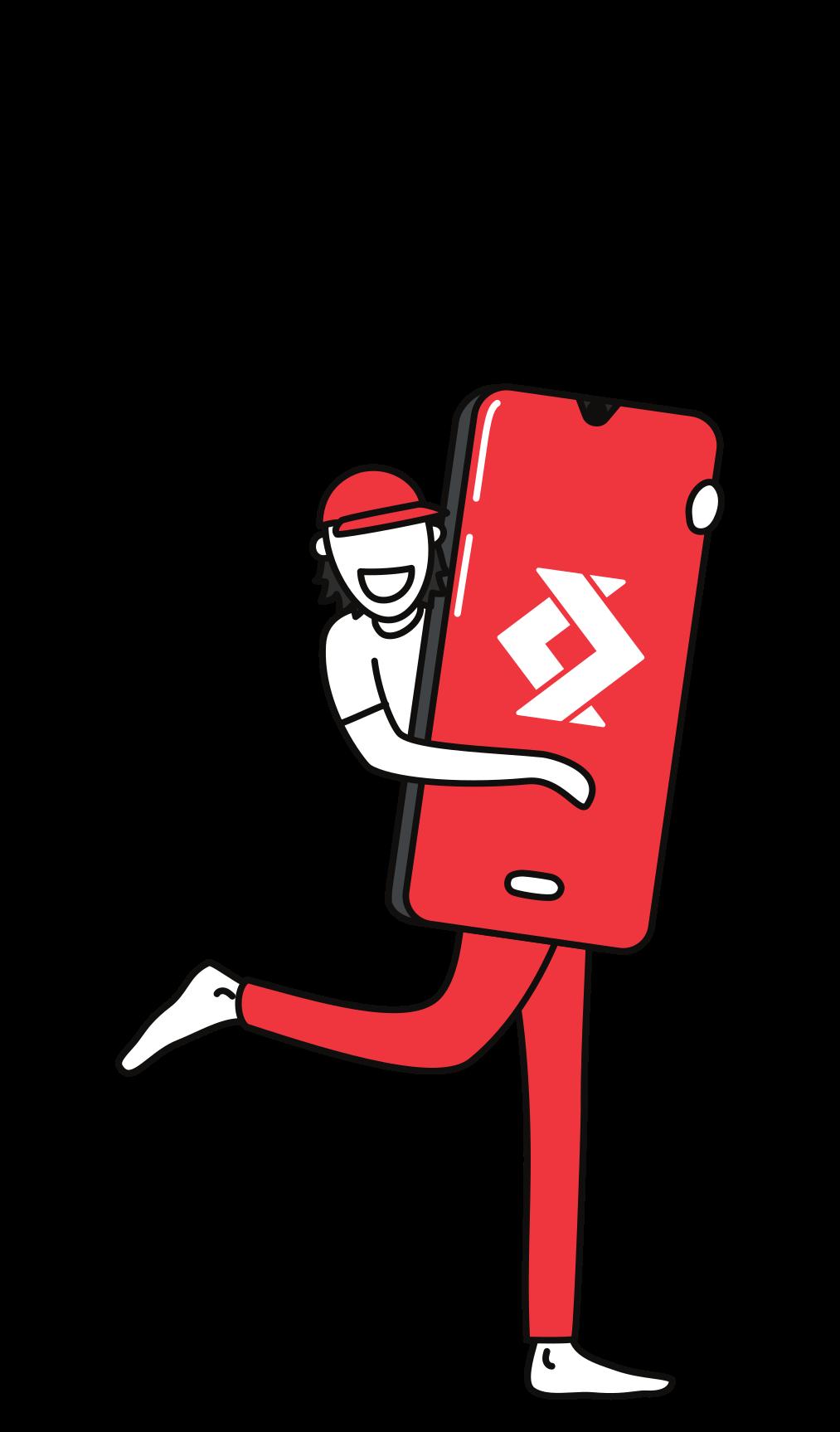 Illustration d'une personne tenant un smartphone avec le logo de satispay 7