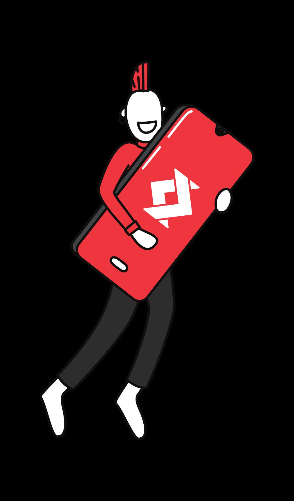 Illustration d'une personne tenant un smartphone avec le logo de satispay 4